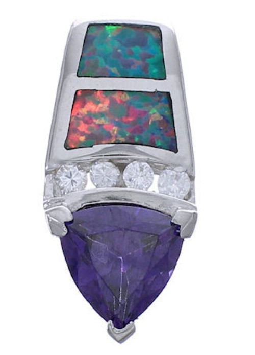 Southwest Amethyst And Fire Opal Pendant PX42585