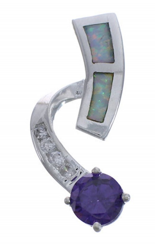 Opal And Amethyst Silver Pendant EX42734