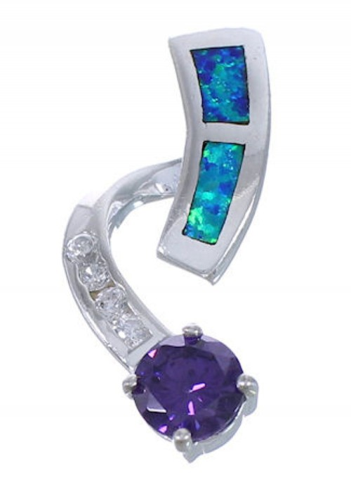 Blue Opal And Amethyst Slide Pendant EX42735