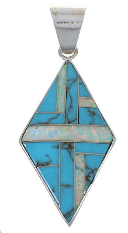 Turquoise Opal Inlay Pendant Jewelry PX42534