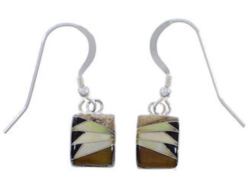 Southwestern Sterling Silver Multicolor Inlay Earrings FX32800