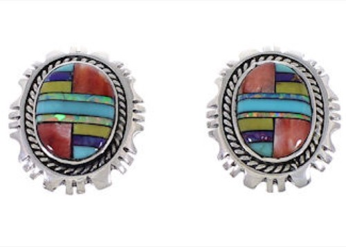 Multicolor Inlay Silver Jewelry Southwest Post Earrings FX32952