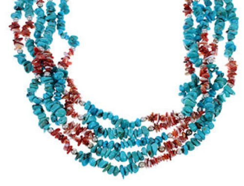 Native American Turquoise Red Oyster Shell 5-Strand Necklace FX26526