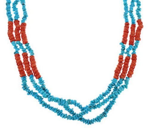 3- Strand Turquoise Coral Navajo American Indian Bead Necklace MX26587