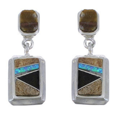 Multicolor Inlay Jewelry Sterling Silver Post Dangle Earrings PX43181
