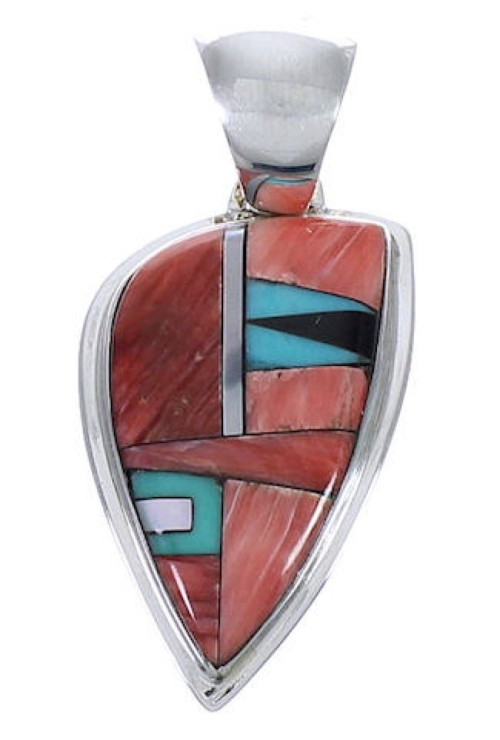 Multicolor Inlay Southwestern Sterling Silver Slide Pendant PX29228