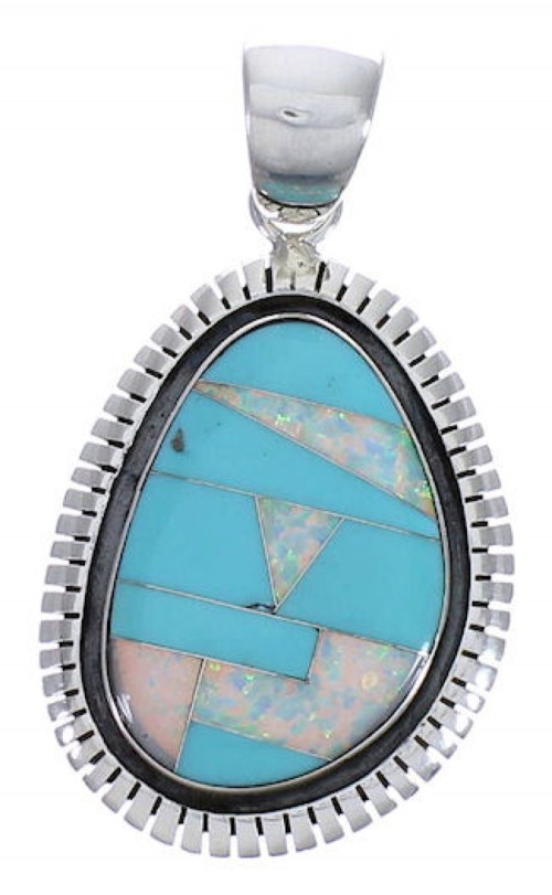 Opal Turquoise Inlay Sterling Silver Slide Pendant PX29249