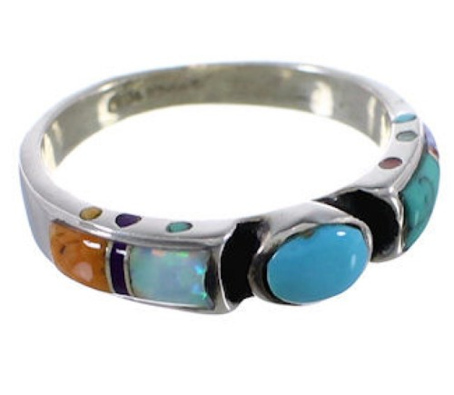 Multicolor Inlay Sterling Silver Ring Size 7-1/2 EX51478
