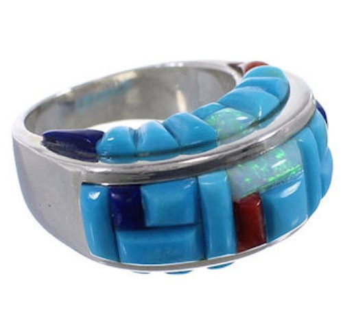 Sterling Silver Turquoise Multicolor Inlay Ring Size 6-3/4 AX37438