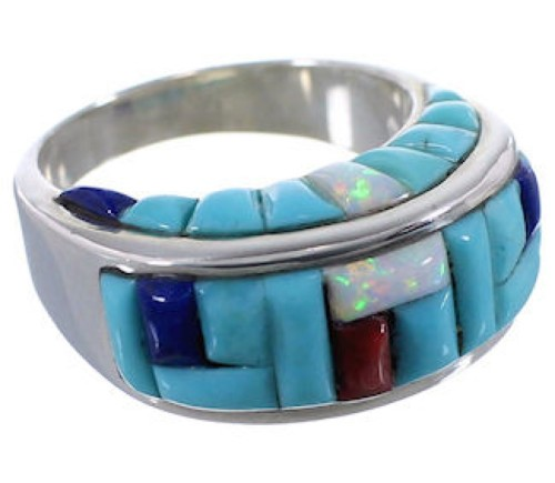 Southwest Jewelry Multicolor Inlay Silver Ring Size 8-3/4 AX37446