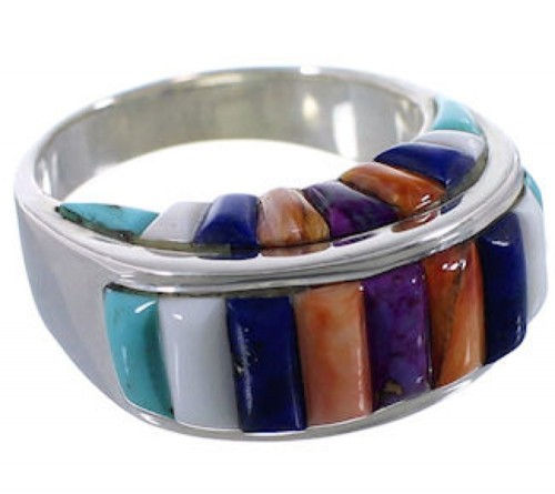 Southwest Jewelry Multicolor Sterling Silver Ring Size 9-1/2 AX37450