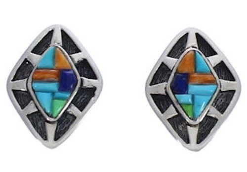 Silver Multicolor Inlay Southwest Post Earrings FX32112