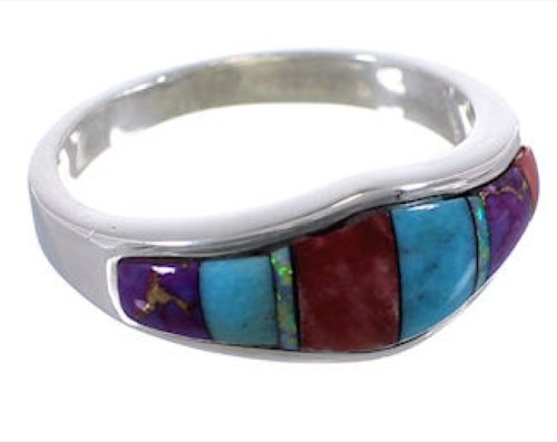 Multicolor Genuine Sterling Silver Ring Size 7-1/2 TX38205
