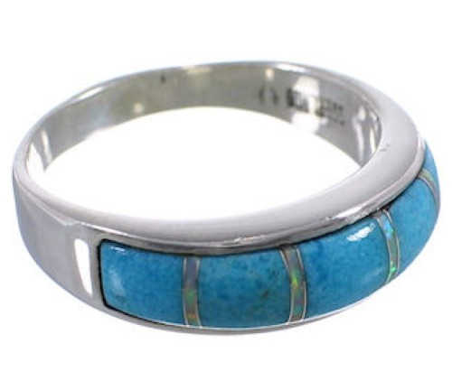 Authentic Sterling Silver Turquoise Opal Inlay Ring Size 7-3/4 TX38245