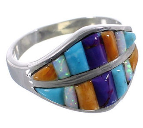Silver Multicolor Inlay Ring Size 8-1/2 TX38383