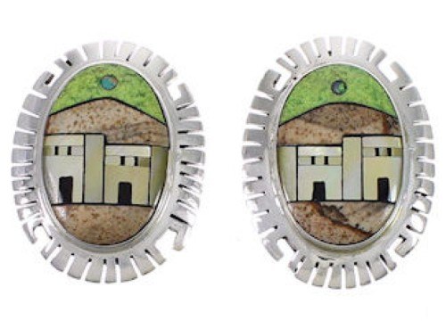 Multicolor Native American Design Sterling Silver Earrings EX31273