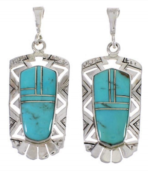 Turquoise Inlay Jewelry Sterling Silver Earrings PX31718