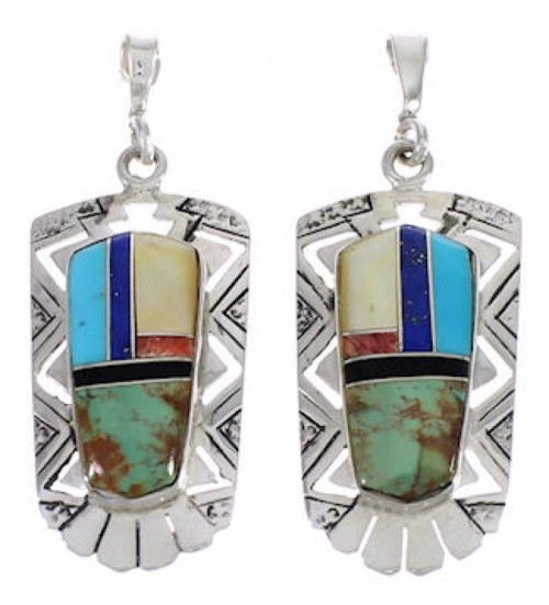 Multicolor Inlay Southwest Silver Post Dangle Earrings PX31727