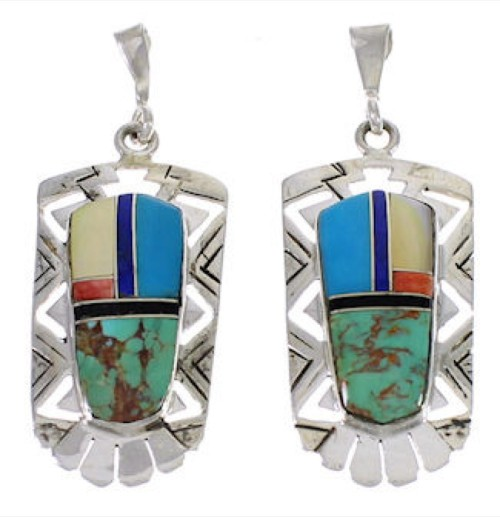 Southwest Multicolor And Silver Post Dangle Earrings PX31732