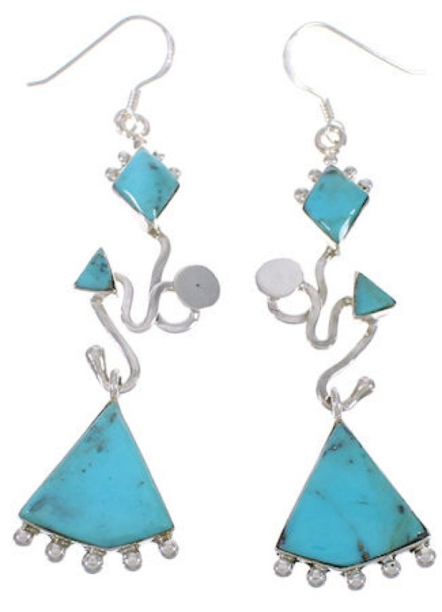 Genuine Sterling Silver Turquoise Hook Dangle Earrings PX31738