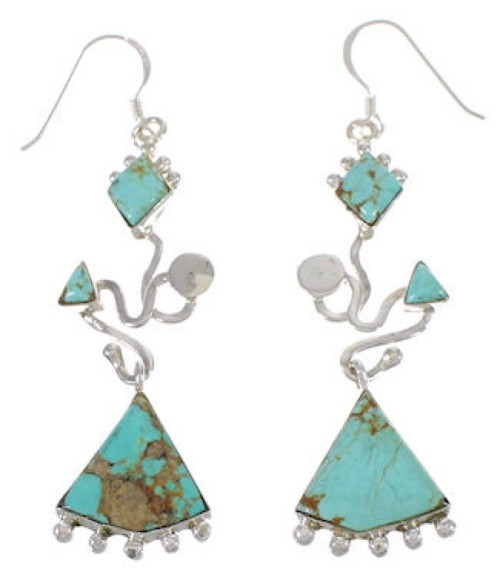 Sterling Silver And Turquoise Jewelry Hook Dangle Earrings PX31743