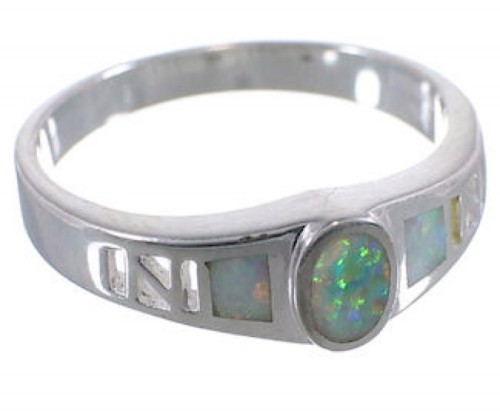 Opal Inlay Southwest Sterling Silver Ring Size 8-1/4 EX52002