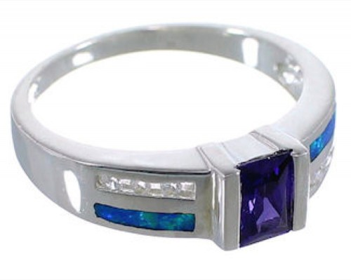 Southwest Amethyst And Blue Opal Silver Ring Size 5-1/2 EX55939