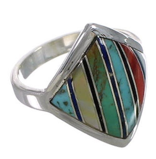 Multicolor Inlay Genuine Sterling Silver Ring Size 6-1/4 UX34371