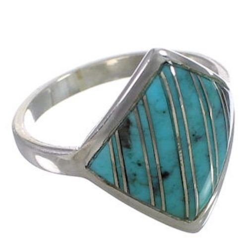 Turquoise Inlay Sterling Silver Jewelry Ring Size 8-1/2 UX34427