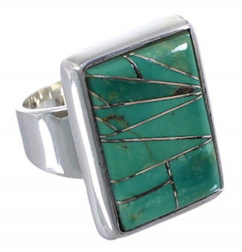 Sturdy Turquoise Authentic Sterling Silver Ring Size 6-3/4 WX37423
