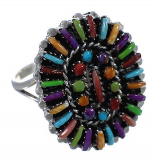 Multicolor Needlepoint Jewelry Silver Ring Size 8-3/4 PX43618