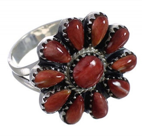Southwestern Jewelry Red Oyster Shell Ring Size 7-1/2 PX43626