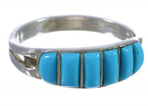 Genuine Sterling Silver And Turquoise Inlay Ring Size 6-3/4 HS34224