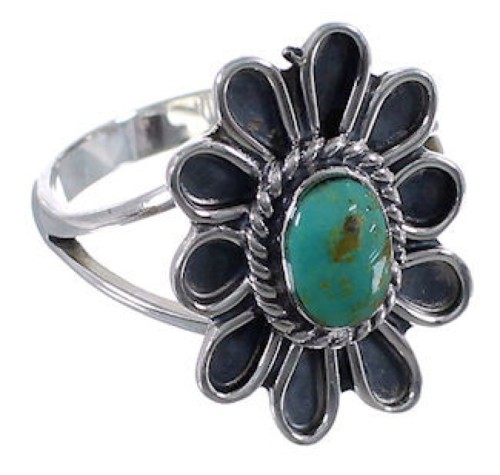 Southwest Turquoise Flower Sterling Silver Ring Size 6-3/4 VX37267