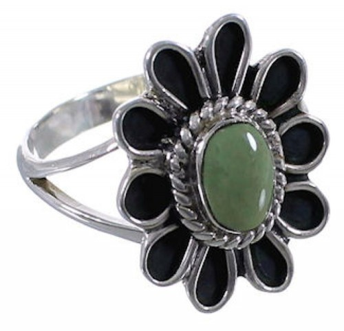 Flower Authentic Sterling Silver Turquoise Ring Size 6-1/4 VX37284