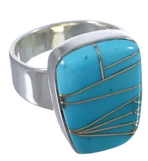 Southwest Turquoise Inlay Well-Built Ring Size 7-3/4 EX40365