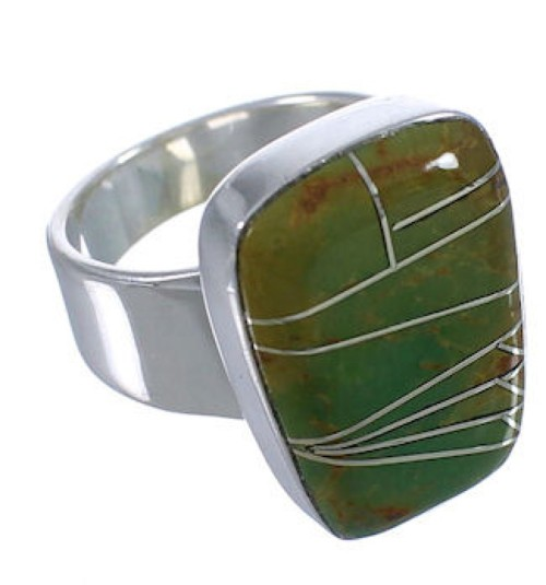 Southwest Turquoise Inlay High Quality Ring Size 4-3/4 EX40396