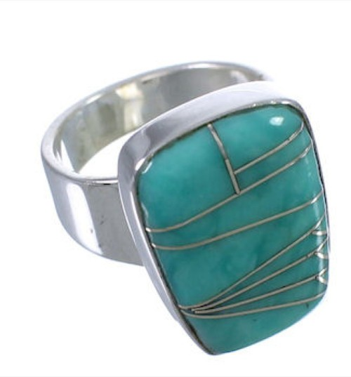 Turquoise Inlay Southwest Well-Built Ring Size 4-3/4 EX40419