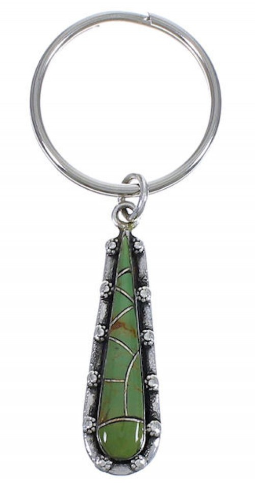 Turquoise Inlay Southwest Silver Key Chain FX31175
