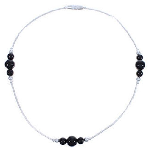 Hand Strung Liquid Silver Onyx Bead Anklet FX31160