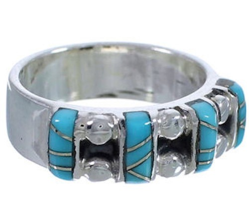Southwest Turquoise Authentic Sterling Silver Ring Size 5 WX34481