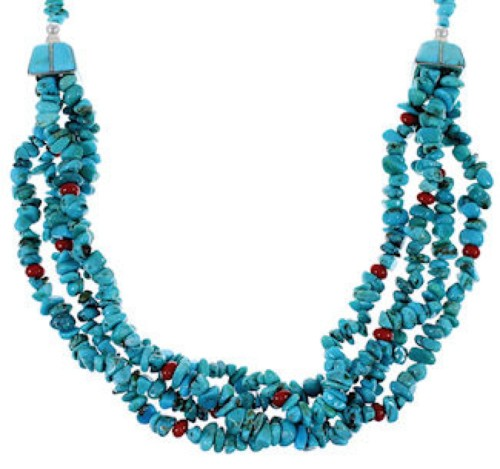 Navajo Turquoise And Multicolor Sterling Silver Bead Necklace AS42681
