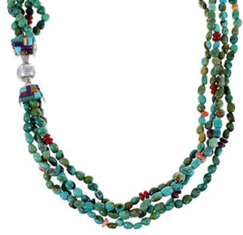 Navajo Indian Jewelry Sterling Silver Multicolor Bead Necklace AS46485