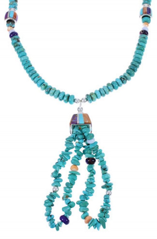 Native American Navajo Turquoise Multicolor Bead Necklace RS40187