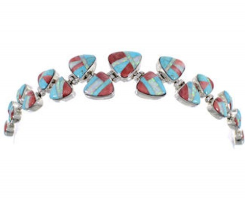 Turquoise Opal Red Oyster Shell Whiterock Link Bracelet HS32974