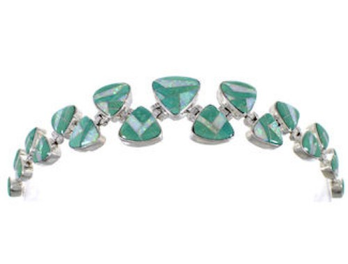 Whiterock Sterling Silver Turquoise Opal Inlay Link Bracelet HS32992