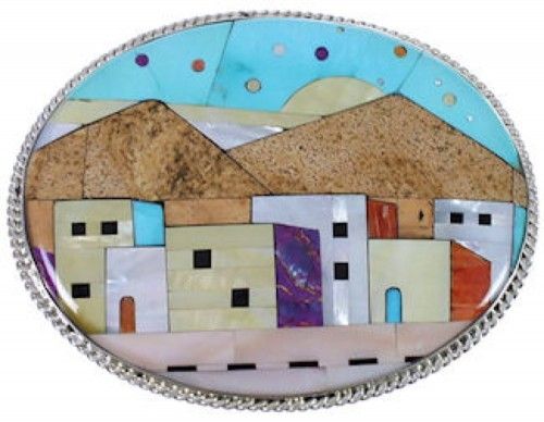 Multistone Turquoise Silver Native American Design Belt Buckle NS40214