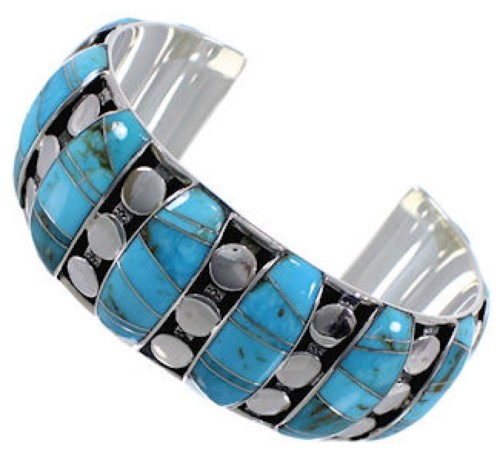 Genuine Sterling Silver Turquoise Inlay Heavy Cuff Bracelet MX27413