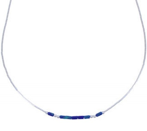 "Hand Strung Liquid Silver & Azurite 16"" Necklace Jewelry LS37A"