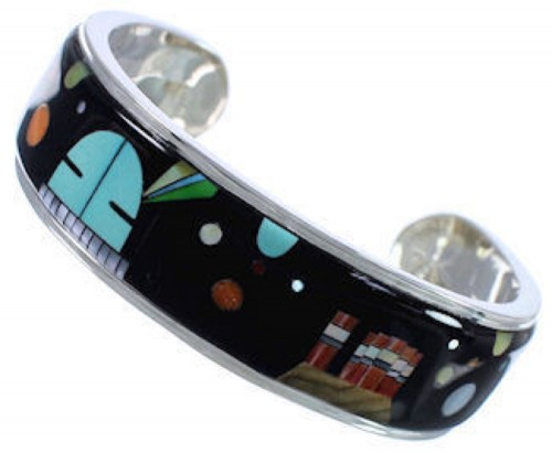 Multicolor Steling Native American Mesa Design Cuff Bracelet NS45883